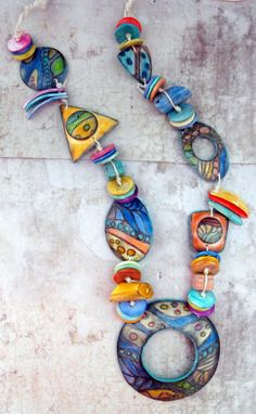Margit Bohmer on The Polymer Arts blog. Margit brings a delightful variety of shapes and colors to this necklace. www.thepolymerarts.com