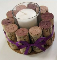 Easy Christmas Crafts - Tea Light Holder - Click Pic for 22 Fun Wine Cork Projects
