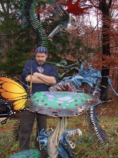 West Milford, NJ - Kevin McAuliffe with some of his Garden Sculptures now available at Soulshine Studios -1449 Union Valley Rd