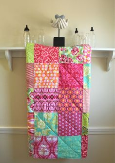 Baby Quilt -  Annika Pink -  Patchwork Baby Blanket in Pink, Orange, Turquoise, and Green
