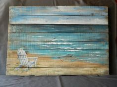 wood pallet beach wall art beach hand painted seascape horizon ocean extra large reclaimed distressed adirondack chair shabby chic, wood painting beach pallet art Source by alalifen Wood Pallet Art, Pallet Painting, Wood Pallets, Painting On Wood, Painting & Drawing, Painted Pallets, Wood Paintings, Beach Paintings, Watercolor Paintings