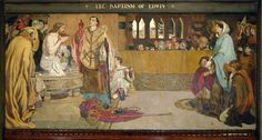 Baptism of Edwin (c.585-633) King of Northumbria and Deira  Artist: Ford Madox Brown    Start Date: 1879