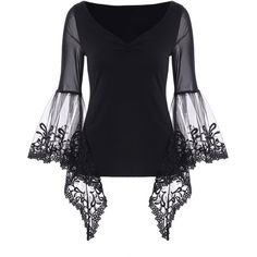 V Neck Bell Sleeve Sheer Lace Panel T Shirt (260 MXN) ❤ liked on Polyvore featuring tops, t-shirts, shirts, rosegal, v-neck tee, sheer lace shirt, flared sleeve shirt, v neck collared shirt and flared sleeve top