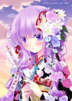 Anime girl in a kimono