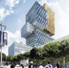 Tribune Media Company is planning to build a 30-story mixed-use tower in Downtown Los Angeles adjacent to the existing L.A. Times building. (Courtesy Gensler / Urbanize.LA)