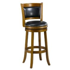 Mintra Dark Oak Finish Padded Back 29-Inch Barstool by MINTRA. $99.99. Upholstery materials: premium bi-cast leather covers; black leather upholstery. French legs with tapered bottoms: full ring footrest for strength and stability. Dimension: 38-inch high by 18-inch wide by 18-inch deep; seat height: 29-inch. Solid woods construction in dark oak finish. Assembly required, available also in cherry, cappuccino, and black finish. Perfect for refined entertaining, this ...