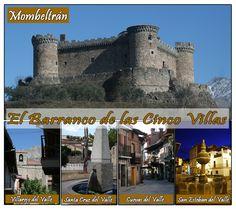 Los pueblos del Barranco de las CInco Villas: Mombeltrán, Santa Cruz del Valle, San Esteban del Valle, Villarejo del Valle y Cuevas del Valle.