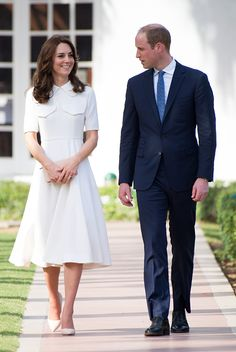 Prince William Duke of Cambridge and Catherine Duchess of Cambridge on a tour of the Gandhi Smriti museum at Old Birla House on April 11 2016 in New...