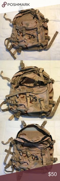 Army Assault Backpack, DCU camo pattern. Used. Army DCU Camo Pattern Assault Backpack. Used. Have lots of storage pockets. Waist straps and two quick release on both shoulders straps. Have some minor Desert stain but still in excellent condition. Great for all occasions. Get it before it's gone. OBO! Bags Backpacks