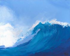 A Cresting Wave - Samantha Galactica Art Paintings For Sale, Original Paintings, Art Academy, Crests, Teaching Art, Cool Artwork, Shades Of Blue, Seaside, Scenery