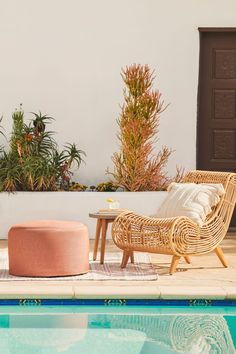A statement lounge chair. The synthetic rattan and Boho styling of the Calova makes sure that even if you're just relaxing, you're relaxing in style. #OutdoorPatio #PatioFurniture #PatioLounge High Quality Furniture, Modern Furniture, Rattan, Wicker, Lounge Chairs, Upholstery, Relax, Indoor, Boho