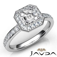 Asscher Diamond Engagement Ring Certified by GIA, E Color & VS2 clarity, 14k White Gold (0.95 ct. Total weight.)
