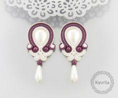 wedding earrings  soutache simple dark fuchsia