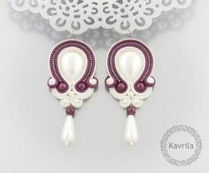 wedding earrings  soutache simple dark fuchsia