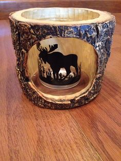 Wood Moose Candle Votive