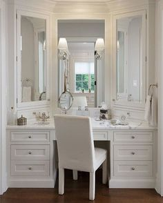 Walk in closet vanity. Walk in closet vanity. Bathroom With Makeup Vanity, Closet Vanity, Bathroom Closet, Small Bathroom, Master Bathroom, Small Sink, Master Bedrooms, Closet Mirror, Master Bath Vanity