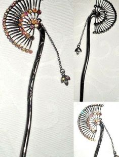 Art Deco fan shape head pin with Swarovski Crystals Washer Necklace, Pendant Necklace, Wine O Clock, Head Pins, My Ebay, Swarovski Crystals, Art Deco, Girly, Shapes
