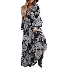 Maxi Long Shift Dress V Neck Lace Up Front Bishop Sleeve Floral Dr... (€24) ❤ liked on Polyvore featuring dresses, maxi dresses, lace up maxi dress, v-neck dresses, floral print dress and lace up shift dress