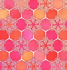 Pink Spice Honeycomb - Doodle Hexagon Pattern Art Print by micklyn Honeycomb Pattern, Hexagon Pattern, Pattern Art, Pattern Design, Textile Patterns, Color Patterns, Print Patterns, Tropical Fabric, Red Design
