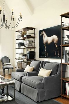 Get Your Home Chic Looking with These 25 Equestrian Chic Decor Ideas Equestrian Bedroom, Equestrian Decor, Equestrian Style, Living Room Shelves, Living Room Furniture, Living Room Decor, Decor Interior Design, Interior Decorating, Decorating Ideas