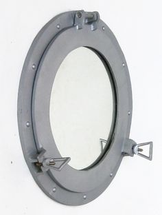 Ship's Cabin Porthole Mirror Aluminum Finish Round Nautical Wall Decor New Nautical Wall Decor, Nautical Home, Coastal Decor, Porthole Mirror, Window Mirror, Mirrors, Farmhouse Side Table, Nautical Bathrooms, Cottage Style Homes