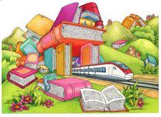 Viajando por el país de los libros, ilustración de Lido Contemori