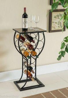 Metal Wine Storage Organizer Display Rack Table Marble Finish Top Home Furniture for sale online Wine Bottle Storage, Wine Rack Storage, Wine Bottle Holders, Wine Racks, Pot Racks, Standing Wine Rack, Table Bar, Wine Decor, Metal Tree