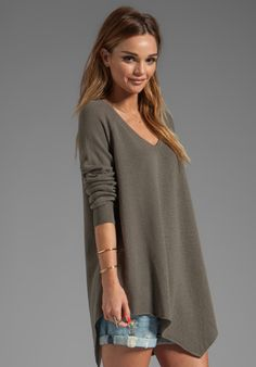 JOIE Solid Wool Cashmere Shatoria Sweater in Fatigue