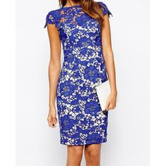 Elegant Round Neck Short Sleeves Hollow Out Lace Bodycon Dress For Women