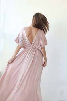 Pink Blush Maxi Dress With Bat Sleeves by BLUSHFASHION on Etsy, $129.00