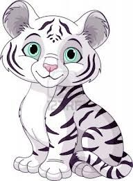 Illustration of Cute white tiger cub vector art, clipart and stock vectors. Clipart Baby, Baby Cartoon, Cute Cartoon, White Tiger Cubs, White Lions, White Tigers, Tiger Tiger, Bengal Tiger, Baby Animals