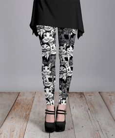 Love this Gray & White Kitty Cat Leggings - Plus Too on #zulily! #zulilyfinds