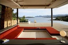 contemporary mid-century modern inspired sunken living room design. (dezeen)