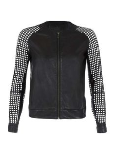 Womens black leather box jacket