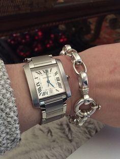 Cartier Tank Francaise with Sundance sterling silver heavy link bracelet