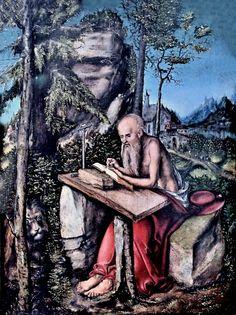 Lucas Cranach the Elder. 1472-1553. Wittenberg and Weimar. St. Jerome in a landscape. around 1515. Berlin Gemäldegalerie.
