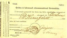 Quitto å inlemnad rekommenderad försändelse Ystad 1886