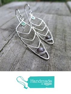 Long Green and Grey Chevron Feather Earrings - Sterling and Fine Silver http://www.amazon.com/dp/B016E195ZE/ref=hnd_sw_r_pi_dp_QVagwb1CHEEZ9 #handmadeatamazon