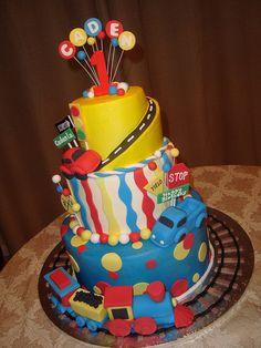 Transportation theme cake