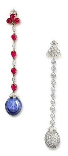 A pair of star sapphire, ruby and diamond earrings, by Bulgari.