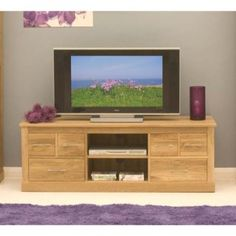 Baumhaus Mobel Solid Oak 6 Drawer Widescreen TV Cabinet