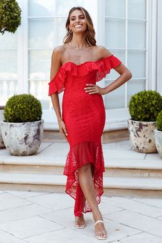Inspired by our Spend All Your Time Waiting Dress, we've lengthened the hem and upped the ante on the romantic factor to bring you our List Goes On Maxi Dress. Chiffon Ruffle, Ruffles, Red Maxi, Hey Girl, Hemline, Corset, Off The Shoulder, Gowns, Moonlight
