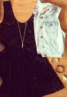 Black dress denim vest