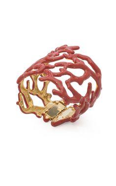 Coral enamel cuff Kenneth Jay Lane