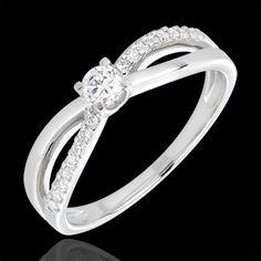 vente en ligne bague solitaire diamant éternité or blanc - diamant 0.14 carats