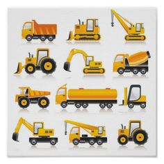 Free construction vehicles vector collection illustration in encapsulated postscript . Construction Birthday, Construction Cookies, Construction Games, Icon Collection, Free Vector Graphics, Vector Vector, Flat Color, Clipart, Transportation