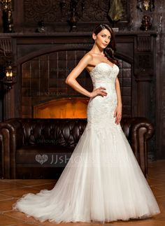 Trumpet/Mermaid Sweetheart Sweep Train Lace Up Strapless Sleeveless Church General Plus No Winter Spring Summer Fall Ivory Tulle Lace Wedding Dress