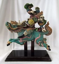 """Antique Chinese Roof Tile Warrior on Horse Dragon Kirin 12"""" Tall on Wooden Stand"""