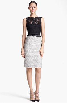Valentino Belted Lace & Tweed Sheath Dress available at #Nordstrom