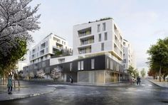 VARIATION SUR BÉTON 93 LOGEMENTS COLLECTIFS AUBERVILLIERS Social Housing Architecture, Home Architecture Styles, Facade Architecture, Residential Architecture, Amazing Architecture, Villa Design, Facade Design, Mix Use Building, Building Design